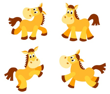 Set of happy horses. Isolated on white. Cartoon vector illustration.