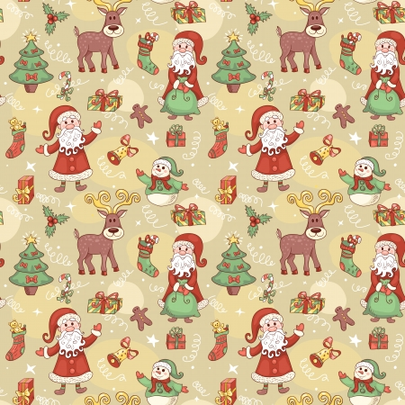 Holiday seamless pattern with santa. Christmas background. Vector.