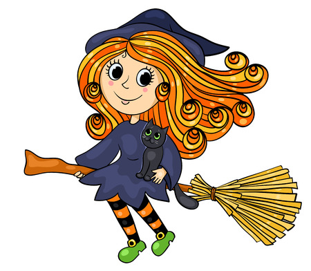 Cute little witch flying. Cartoon vector illustration. Isolated on white.