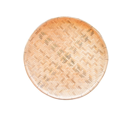 Traditional handcraft wood woven tray isolated on white background with clipping path