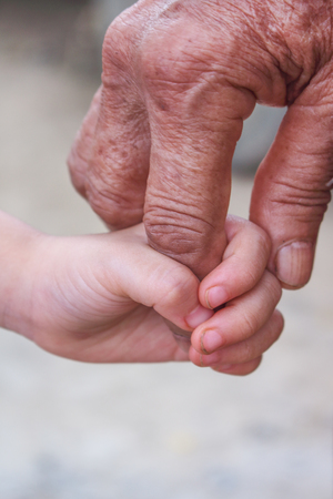 Photo for Aasian grandmother and grandchild holding hands close up - Royalty Free Image