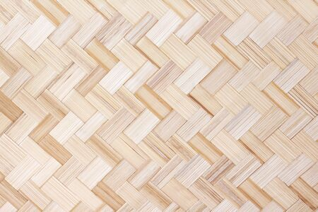 Photo pour Bamboo weave texture seamless pattern , wooden crafts light brown background - image libre de droit