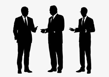 Illustration pour Business people group silhouettes pose on white background, flat line vector and illustration. - image libre de droit