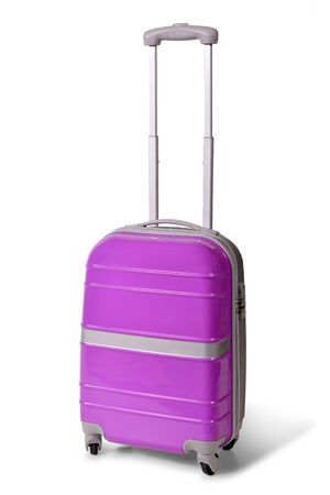 Photo pour One pink suitcase for travel or pink luggage, pink baggage isolated stand alone on white background - image libre de droit