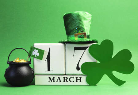 Save the date white block calendar for St Patrick s Day, March 17, with leprechan hay, pot of gold and shamrock