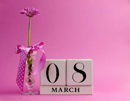 Pink theme Save the Date white block calendar for International Women s Day, March 8, decorated with flower, vase and polka dot ribbon