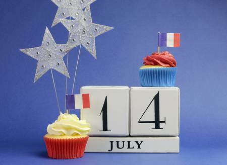 France National holiday calendar, 14 July, Fourteenth of July, Bastille Day, with flags , cakes and stars decorations.