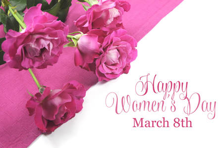 Happy International Womens Day, March 8, celebration greeting message with pink roses