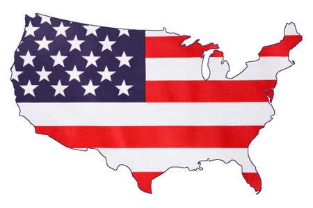 USA Stars and Stripes flag within outline of USA map, on white background for holiday and event concept.