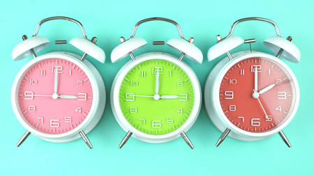 Photo pour Turning the clocks back one hour for Springtime Daylight Savings Time. - image libre de droit