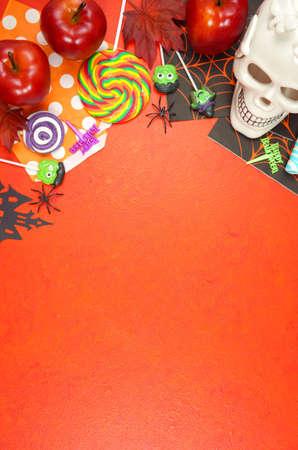 Foto de Halloween Trick or Treat desktop background blog header overhead flat lay. - Imagen libre de derechos