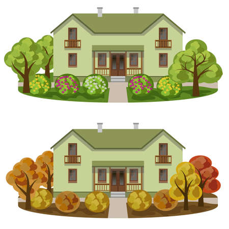 Set of houses in seasoned garden landscape. Manor house, autumn and summer gardens with colorful trees and bushes with flowers. Vector illustration.のイラスト素材