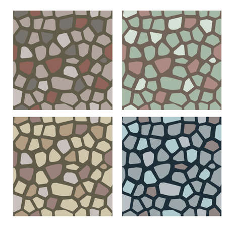 Set of stone textures. Stones, cobbles to use as a texture for wall or pavement. Seamless vector pattern.
