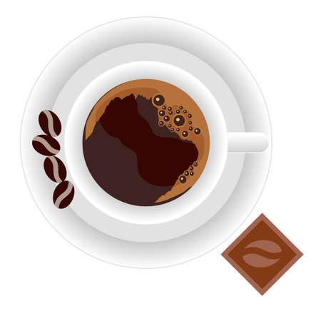 Illustration pour Coffee set. Espresso coffee cup, plate, coffee beans, chocolate. Vector illustration. - image libre de droit