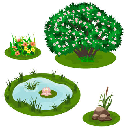 Illustration pour Tile set for forest or garden landscape design. Bush in blossom, pond with lily, flowers in grass, stubs, reef. Video game asset, cartoon elements. Vector illustration - image libre de droit