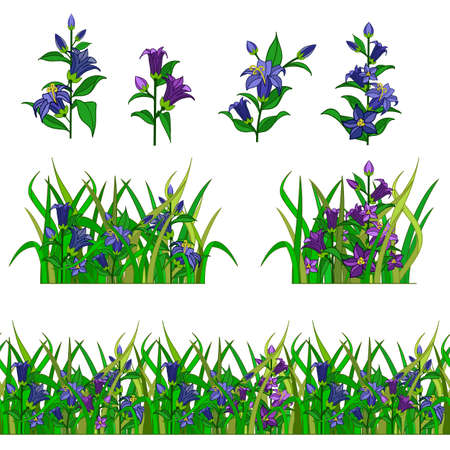 Illustration pour Set of garden flower in grass for landscape scene creating. Bell-flowers composed in grass. Can be used as cartoon or game asset. Vector illustration - image libre de droit