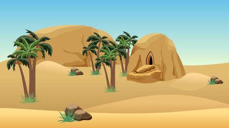 Illustration pour Desert landscape scene for cartoon or game background. Forgotten desert city in sandy rocks for game asset or level location. Sand dunes, mountains, palms. Vector illustration. - image libre de droit