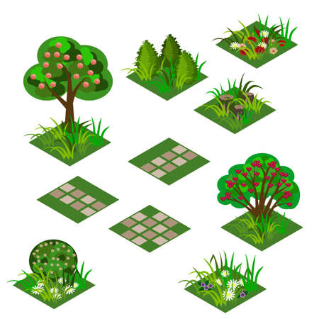 Illustration pour Garden or farm isometric tile set. Isolated isometric tiles trees, flowers in grass, bushes in blossom and paving walks to design garden landscape scene in cartoon or game asset. Vector illustration - image libre de droit