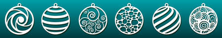 Illustration for Set of laser cut templates. Christmas balls, abstract pattern in underwater design. Metal cutting, paper art, wood carving, fretwork stencil or die. Vector illustration - Royalty Free Image