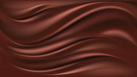 Illustration pour Chocolate wave background. Flowing smooth satin texture, milk chocolate creamy pattern. Vector illustration  - image libre de droit