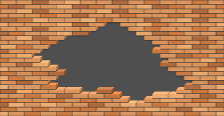 Illustration for Broken brick wall with hole. 3D Isometric view. Brick stone wall of building or house destroyed. Flat vector illustration. - Royalty Free Image