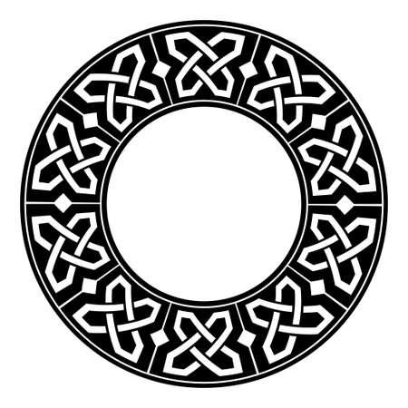 Illustration pour Circular decorative border with celtic ornament. Traditional medieval celtic knots pattern. Black and white design. Vector illustration - image libre de droit