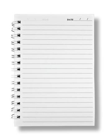 Notebook Paper on White Background W ith Shadow