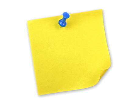 Yellow sticky note with blue pin on white background