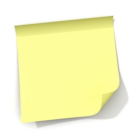 Sticky note with curly corner and shadow