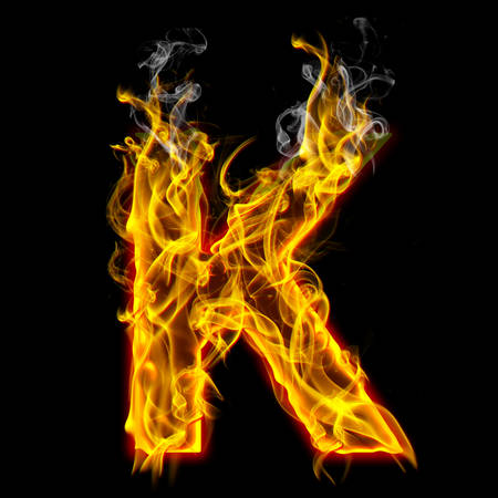 Alphabets in flame, letter K