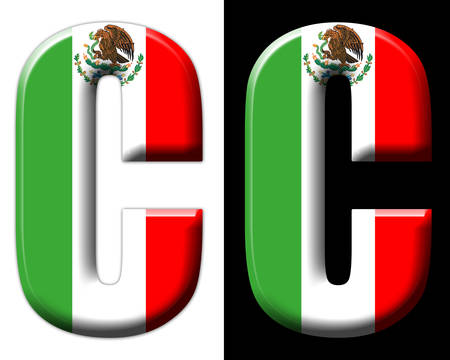 Letter C with the Mexican flag
