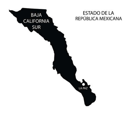 Illustration for State Baja California Sur, Mexico, vector map - Royalty Free Image