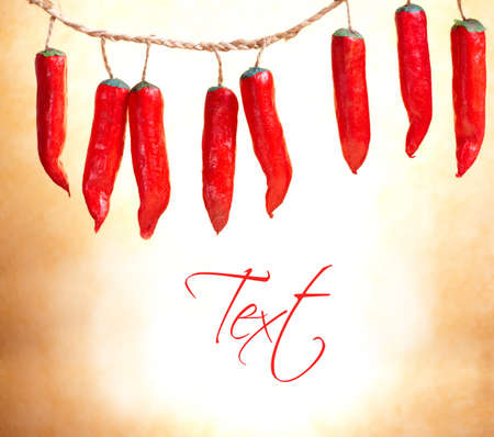 Beautiful decoration made of red chili peppers, blank space for your text