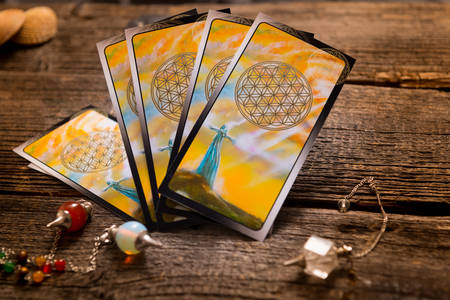 Photo for Tarot cards and other fortune teller's accessories - Royalty Free Image