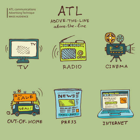 ATL communications symbols collection to present services of ads studios