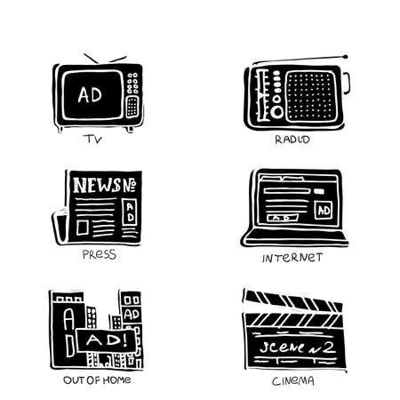 ATL Communication in advertisement hand made icon set. Monochrome, trendy draft negative space symbols collection.