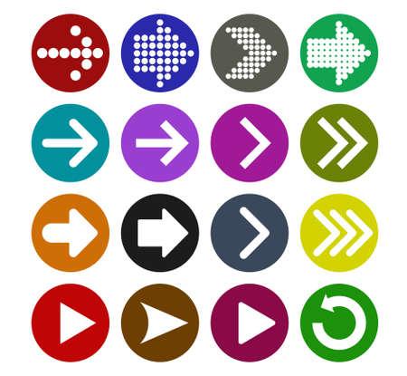 Arrow sign icon set  vector illustration web design elements. Simple circle shape internet button on white background