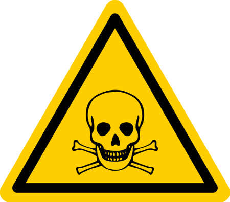 Yellow triangular danger sign with skull and bones. Vector