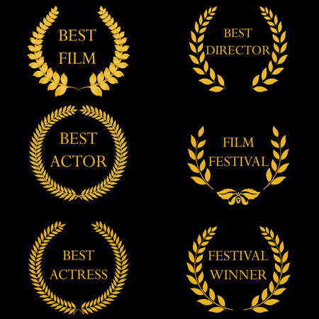 Film awards and nominations, festival winners. Golden laurel wreaths on black background. Vector illustration, fully editable, you can change form and color