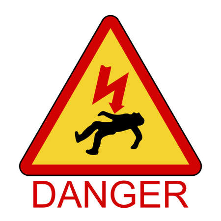 Danger Electrical Hazard, High Voltage Sign, triangle sign of death - vector illustration