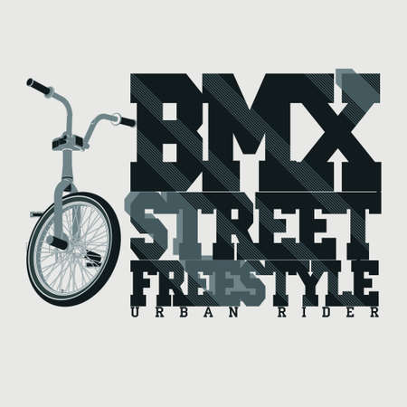 BMX Riding Typography Graphics. Extreme bike street style. T-shirt Design, Print for sportswear apparel - vector illustration