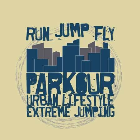 Parkour concept Fashion Typography, sport emblem design, urban graphic Print label - vector illustration