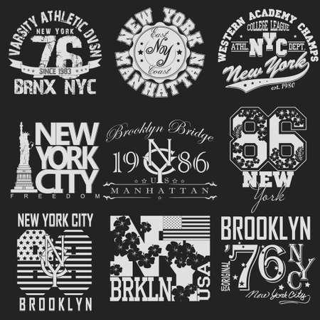 Illustration pour New York City Typography Graphics logo set, T-shirt Printing Design. NYC original wear, Vintage Print for sportswear apparel - vector illustration - image libre de droit