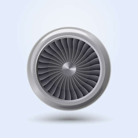Illustration pour Jet Engine Realistic front view, aircraft turbine energy fan. Vector - image libre de droit
