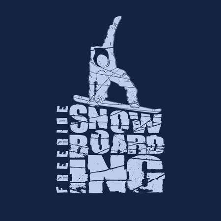 Snowboarding winter sport t-shirt emblem fashion design