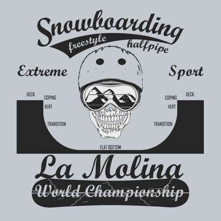Snowboarding Half-Pipe, T-shirt fashion graphic, winter sport emblem, Typography Print label