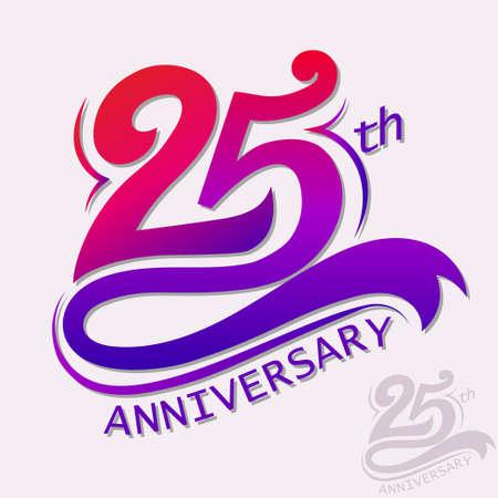 Illustration pour 25th Years Anniversary Design, Template celebration sign. - image libre de droit
