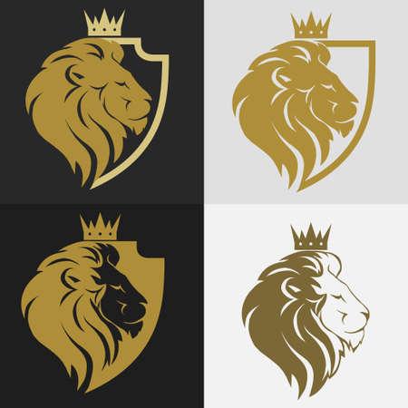 Illustration pour Lion head with crown and shield logo, royal cat profile. Golden luxury emblem. Vector - image libre de droit