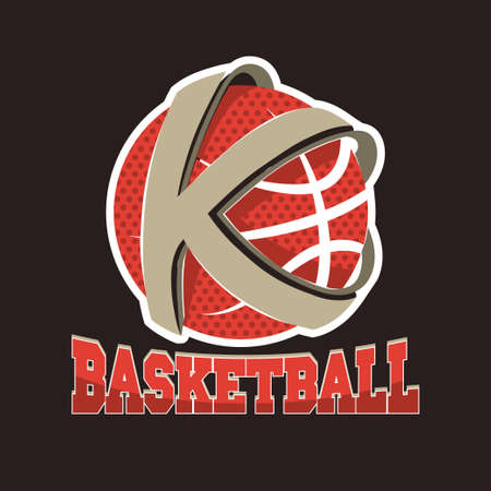 Illustration pour Basketball K letter Team, Championship Emblem, Basket Ball tournament, Sport T-Shirt Graphics. Vector - image libre de droit