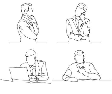 Ilustración de Businessman thinking linear design, continuous line, Thoughtful man with laptop outline. - Imagen libre de derechos